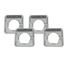 Square Burner Bowls - Chrome - 4 Pack