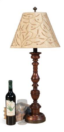 Turned Walnut Candlestick Lamp W/Shade
