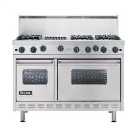 "Metallic Silver 48"" Open Burner Commercial Depth Range - VGRC (48"" wide, six burners 12"" wide char-grill)"