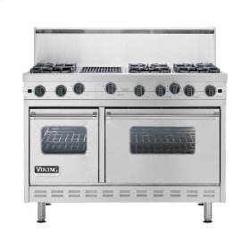 "Metallic Silver 48"" Open Burner Commercial Depth Range - VGRC (48"" wide, six burners 12"" wide char-grill)"