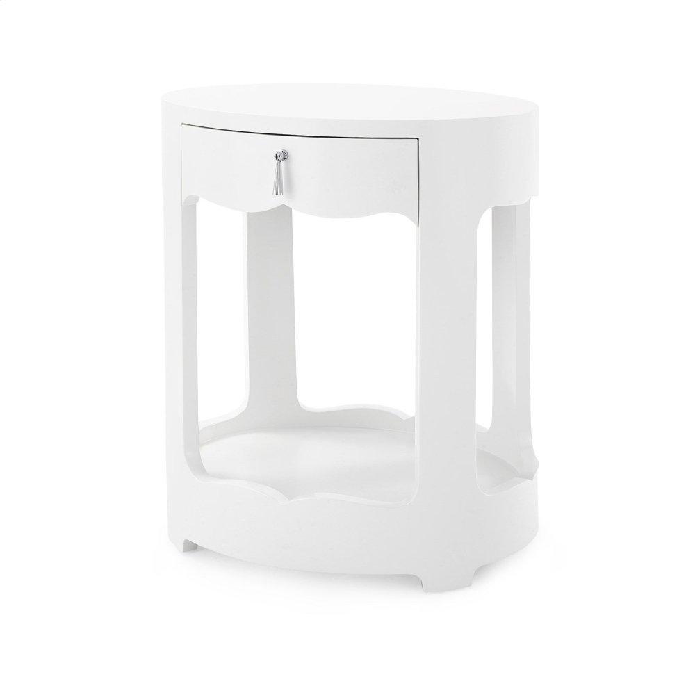 Brigitte 1-Drawer Side Table, White