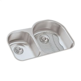 """Elkay Lustertone Classic Stainless Steel 31-1/4"""" x 20"""" x 7-1/2"""", Offset 40/60 Double Bowl Undermount Sink Kit"""