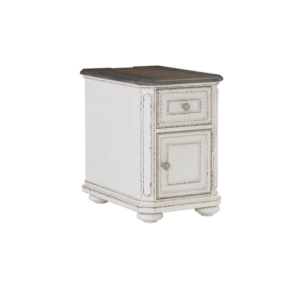Chairside Table with Functional Drawer and Cabinet