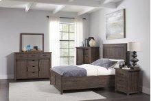 Madison County 4 PC Queen Panel Bedroom: Bed, Dresser, Mirror, Nightstand - Barnwood