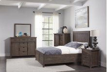 Madison County 4 PC Queen Panel Bedroom: Bed, Dresser, Mirror, Nightstand - Barnwood