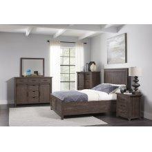 Madison County 5 PC Queen Panel Bedroom: Bed, Dresser, Mirror, Nightstand, Chest - Barnwood