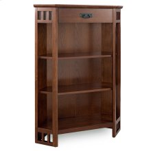 Mission Oak Mantel Height 3-Shelf Corner Bookcase with Drawer Storage #82263