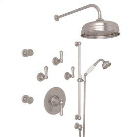 Satin Nickel Perrin & Rowe Georgian Era Thermostatic Shower Package with Georgian Era Solid Metal Lever