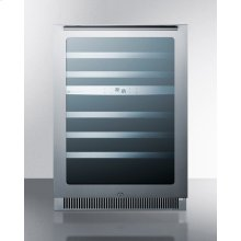 46 Bottle Dual Zone Wine Cellar for Built-in or Freestanding Use, With Seamless Stainless Steel Trimmed Low-e Glass Door and Stainless Steel Wrapped Cabinet