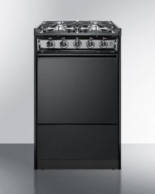 """Slide-in Gas Range In Slim 20"""" Width, With Black Porcelain Construction and Four Sealed Burners"""