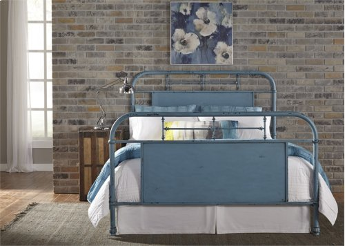 Queen Metal Bed - Blue