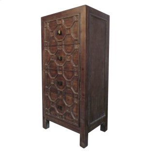 Silvestro Distressed Small Cabinet 4 Drawers, Antique Brown
