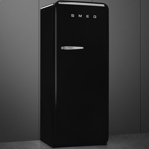 50'S Style Refrigerator with ice compartment, Black, Right hand hinge