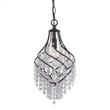 Mowbray 1-Light Mini Pendant in Dark Bronze with Clear Crystal Drops