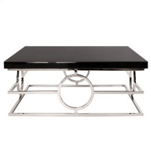 Stainless Steel Coffee Table With Black Mirror Top