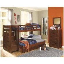 Heartland Reversible Staircase Twin over Full with options: Chocolate, Twin over Full, 2 Drawer Storage