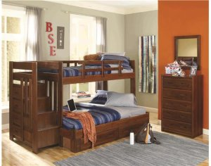 Heartland Reversible Staircase Twin over Full with options: Chocolate, Twin over Full, Twin Trundle