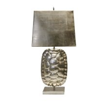 Silver Leafed Tortoise Shell Lamp With Rectangular Metal Shade. Ul Approved for One 60 Watt Bulb
