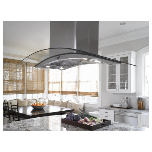 "Monogram 36"" Glass Canopy Island Hood"