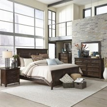 King Panel Bed, Dresser & Mirror, Chest, NS