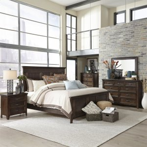Liberty Furniture IndustriesKing Panel Bed, Dresser & Mirror, Chest, Night Stand