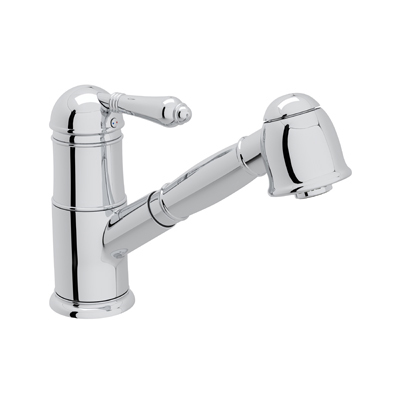 Polished Chrome Traditional Pull-Out Kitchen Faucet with Traditional Metal Lever for A3410