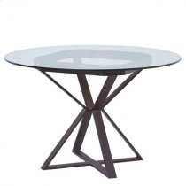 "Armen Living Cairo Round Dining Table in Auburn Bay Finish and 48"" Glass Top Product Image"