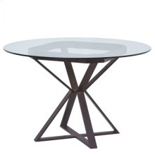"Armen Living Cairo Round Dining Table in Auburn Bay Finish and 48"" Glass Top"