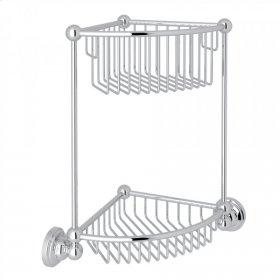 Polished Chrome Perrin & Rowe Edwardian Wall Mount Two-Tier Corner Basket