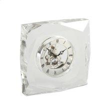 Decorative Round Crystal Desk Clock, Clear