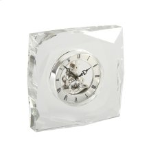 Glass Table Clock W/ Silver Face