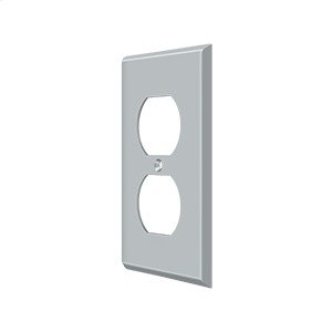 Switch Plate, Double Outlet - Brushed Chrome