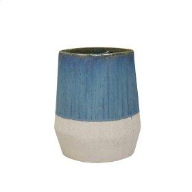 "Ceramic 9"" Vase, Blue/ivory"