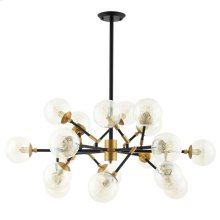 Sparkle Amber Glass And Antique Brass 18 Light Mid-Century Pendant Chandelier in