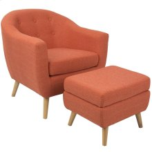 Rockwell Chair + Ottoman Set - Natural Wood, Dark Orange Fabric