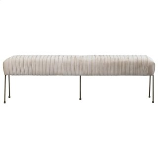 Merritt Velvet Fabric Pleated Bench, Dulce Sand