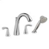 Polished Chrome Fluent Deck-Mount Tub Filler Less Personal Shower