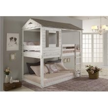 Pine Ridge White House Bed with options: Twin over Twin