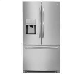 Frigidaire 4pc. Stainless Steel kitchen package with 21.7 cu.ft. counter depth French door fridge and electric range