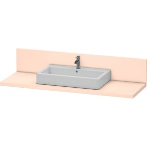 Console + Back Panel For Above-counter Basin And Vanity Basin, Apricot Pearl Satin Matt Lacquer