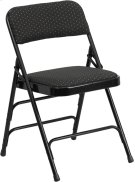 HERCULES Series Curved Triple Braced & Double Hinged Black Patterned Fabric Metal Folding Chair Product Image