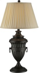 Table Lamp - Aged Black/beige Fabric Shade, E27 Cfl 23w Product Image