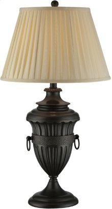 Table Lamp - Aged Black/beige Fabric Shade, E27 Cfl 23w