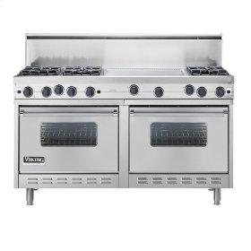 "Stainless Steel 60"" Open Burner Commercial Depth Range - VGRC (60"" wide, six burners 24"" wide griddle/simmer plate)"