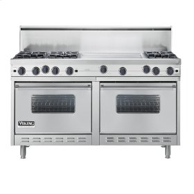 "Stainless Steel 60"" Open Burner Commercial Depth Range - VGRC (60"" wide, six burners 24"" wide griddle/simmer plate)"