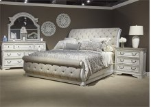 King Uph Sleigh Bed, Dresser & Mirror, NS