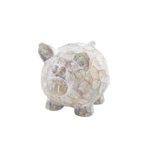 "Resin Pig Decor, 4.75"", Brown/ivory"