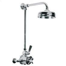 """Exposed black lever thermostatic valve with riser, 8"""" apron rose and adjustable riser pipe bracket"""