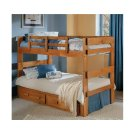 Heartland 2 x 6 Split Bunk Bed with options: Honey Pine, Twin over Twin, 2 Drawer Storage Product Image