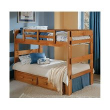 Heartland 2 x 6 Split Bunk Bed with options: Honey Pine, Twin over Twin